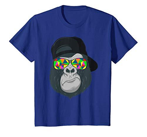 Kinder Gorilla Affen Kopf Gesicht mit bunter Sonnenbrille und Cap T-Shirt