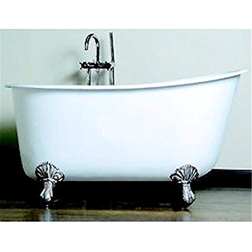 Cambridge Plumbing Cast Iron Swedish Slipper Tub 58' X 30' with No Faucet Drillings and Oil Rubbed Bronze Feet