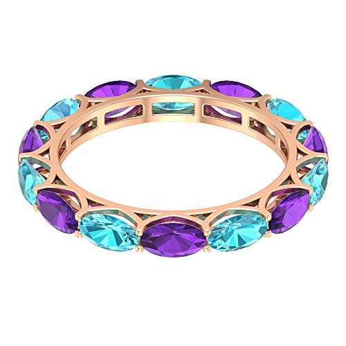 Blue To1.96 Ct 5x3mm anillo suizo de topacio azul, 1.61ct forma ovalada anillo amatista, anillo de eternidad alterna, anillo de aniversario de piedras preciosas, 14K Oro rosa, Size:EU 70