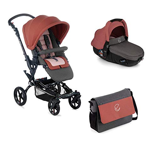 Jané Epic - Cochecito de bebe 2 piezas, silla de paseo y portabebé convertible matrix light 2, freno de mano, chasis de aluminio de 10 kg, plegado compacto, incluye bolso, unisex, color boho pink