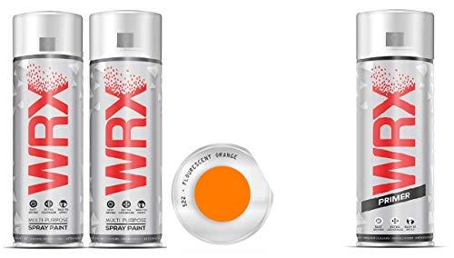 WRX 2 X Spray Paint All Color + Primer Special Offer Bundle Quality Brilliant Colour Perfect Finish Plus Primer Brilliant All Purpose Interior/Exterior, Art, Home Furniture (Fluorescent Orange)