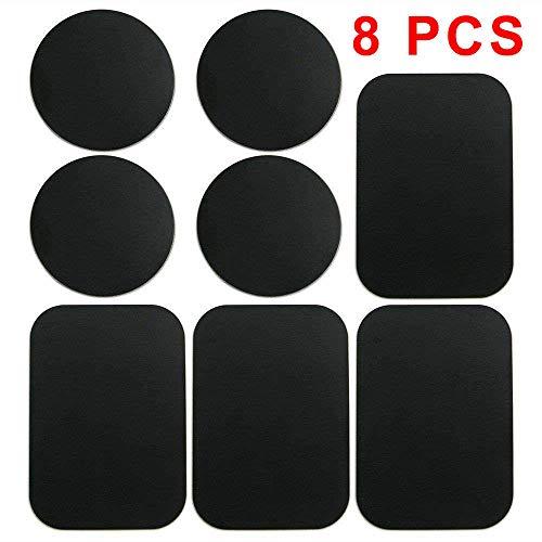 8 Stück Metallplatte für Magnet KFZ Handy Halterung Metallplättchen selbstklebend Handyhalterung Metall Platte für Handy mit 3M Klebefolie für kfz handyhalter 4 Runden und 4 Rechteckigen