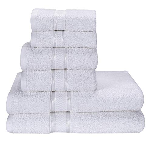 Hotel & Spa Quality, Fade Resistant, Premium Cotton 6 Piece Towel Set - 2 Bath Towels, 2 Hand Towels and 2 Washcloths - Machine Washable - Luxurious & Highly Absorbent - Ideal for Regular Use - White