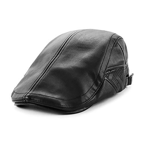 Boinas Gorro Sombrero De Hombre Gorra Plana De Cuero De PU Gorras De Vendedor De Periódicos Sombrero De Taxista Sombreros De Conducción para Hombres