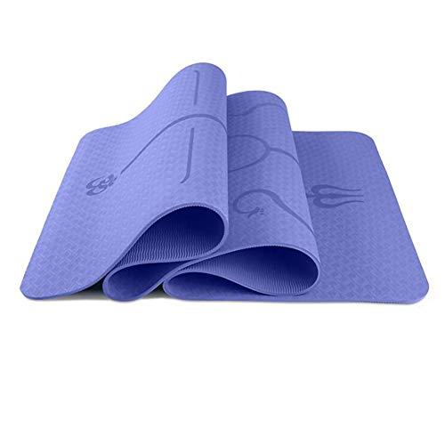 BCGT Estera de Yoga Yoga Mat 6 mm colchoneta de Gimnasia Eco Friendly TPE Material Antideslizante Mat Aptitud del Ejercicio Entrenamiento Estera con Bolsa de Transporte (Color : Blue)