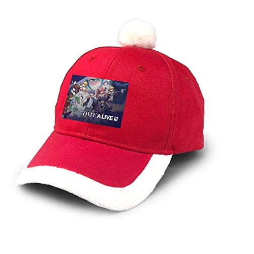 GGdjst Weihnachtsmützen, Date A Live III Comic Christmas Hats Red Santa Baseball Cap for Kids Adult Families Celebrate New Year Party