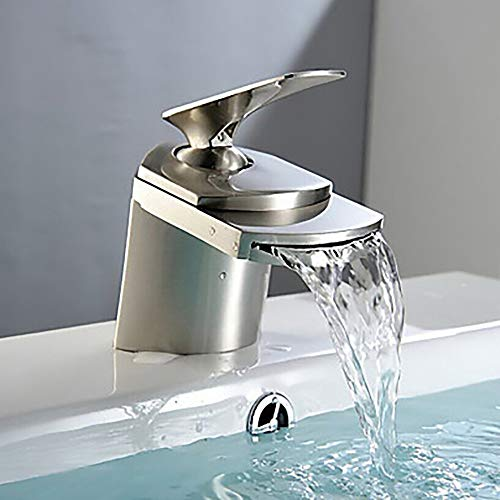 Faus Koco Fregadero del baño Grifo Cascada Níquel Cepillado Juego de Centro manija única HoleBath Faucet válvula de cerámica Llave de una manija