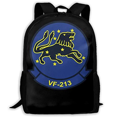 ADGBag US Navy VF-213 Black Lions Squadron Fashion Outdoor Shoulders Bag Durable Travel Camping for Kids Backpacks Shoulder Bag Book Scholl Travel Backpack Sac à Dos pour Enfants