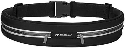 MoKo - Marsupio Sportivo Impermeabile con Fasce Riflettenti in Tela Regolabile con Doppia Tasca, Nero