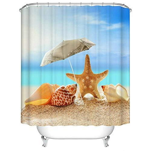ZZZdz sterren marinedecoratie voor La Casa douchegordijn, 180 x 180 cm, 12 haken Gratuiti. 3D-print, HD-print.