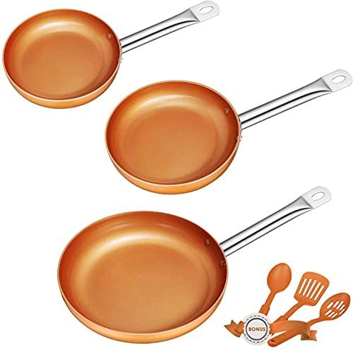 Deik Set di 3 padelle in rame | padelle a induzione antiaderenti con 3 spatole e cucchiaio, prive di PFOA | Lavabili in lavastoviglie | 20-24-28 cm, adatte per tutti i tipi di cucina, rame vintage