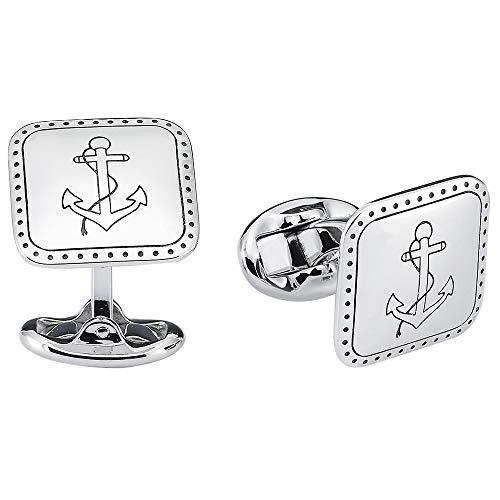 Vinani Design Manschettenknöpfe Anker Symbol geschwärzt glänzend 925 Sterling Silber Herren Anzug Hemd 2MAA