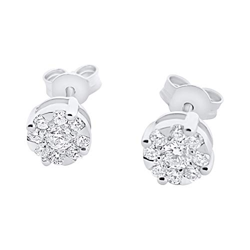 Orecchini Punto Luce Oro Bianco 18kt 750 con Diamanti Naturali 0,17 CT G VVS
