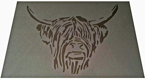 Kunststoff-Schablone im Vintage-/Shabby-Chic-Stil, schottischer Kuhkopf, A4, 297 x 210 mm, für Möbel