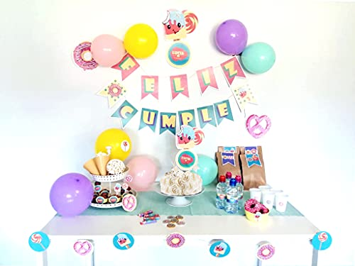Decoración de fiesta, tema Candy Bar, Guirnalda de Feliz Cumple, Decoración de pastel y Cupckakes, Guirnalda para mesa, 78 Piezas Personalizadas, cumpleaños, Bautizos, Baby Shower