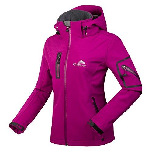 CIKRILAN Mujer Chaqueta Softshell Resistente al agua chaqueta al aire libre Ladies Deportes Camping Escalada de senderismo Coat (large, Morado)