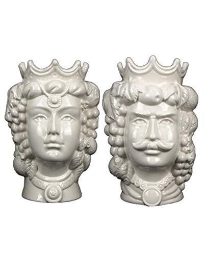 Coppia Teste di moro H cm 25 bianche in ceramica di Caltagirone fatta a mano