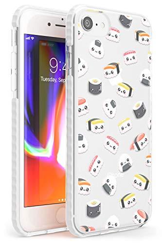 Hülle Warehouse Kawaii Sushi und Reis-Muster Impact Hülle kompatibel mit iPhone 7 Plus TPU Schutz Light Phone Tasche mit Transparent Japanisch Lebensmittel Kawaii
