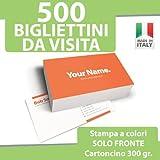 500 BIGLIETTI DA VISITA Bigliettini STAMPA solo FRONTE a...