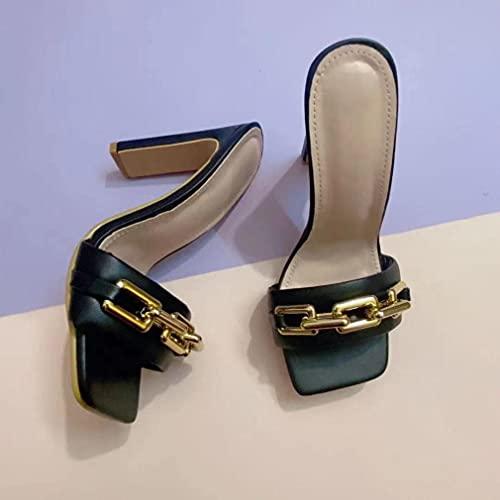 Sandalias De Tacón Alto para Mujer De Tacón Grueso De Metal Europeo Y Americano De Talla Grande De Verano 2021 Negro