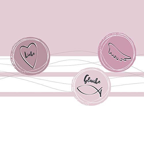 20 Servietten Festliche Werte rosa als Tischdeko zur Taufe, Kommunion, Konfirmation und Hochzeit 33x33cm