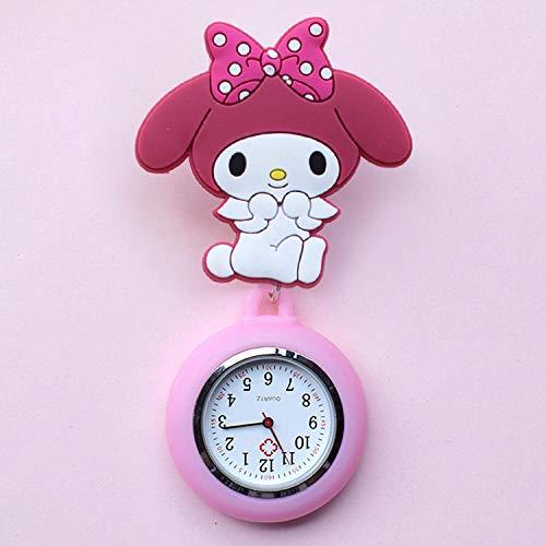 dihui Reloj de Bolsillo con Broche de Solapa,Reloj de Bolsillo médico retráctil, Lindo Reloj de Bolsillo de Silicona-Melody,Reloj Silicona Enfermera