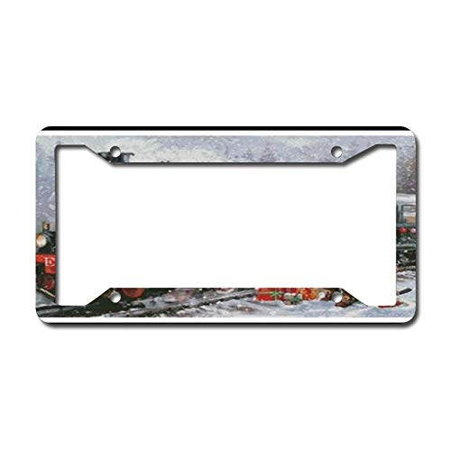 Library design Your License Plate Frame Auto Truck Car Front Tag Personalized Metal License Plate Frame 6'x12'. Christmas Vintage Train Santa Xmas Holiday