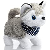 HollyHOME Siberian Husky Plush Interactive Toy Walking, Barking, Wagging Tail, StretchingElectronic Puppy Dog with Scarf 7 Inches Gifts for Kids