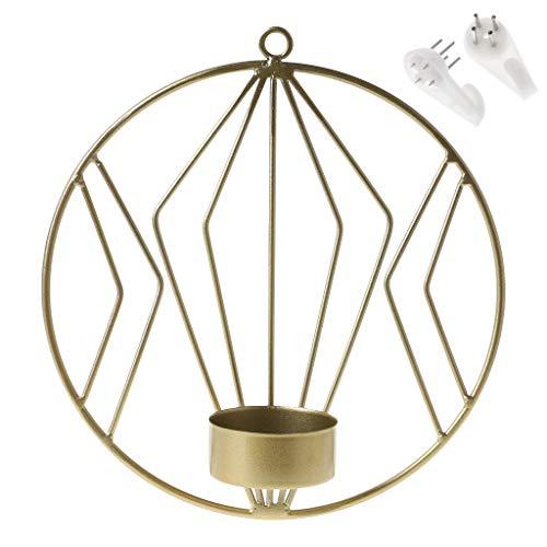 Hoxin 3D Geometrische Wandkerzenhalter 7,28x1,97 H, Teelicht Wandleuchte Halter Weihnachten Hause Hochzeitsdekor Geschenk (Gold)