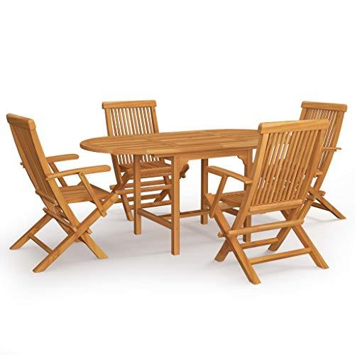 vidaXL Madera Maciza de Teca Conjunto de Comedor de Jardín 5 Piezas Muebles Exterior Cocina Terraza Hogar Mesa Silla Asiento Suave con Respaldo