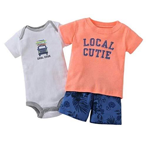 Unisexe nourrissons- tout-petits à manches courtes et vêtements décontractés couleur pêche blanc