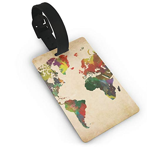 antspuent Colorful Rainbow Map of The World Earth Luggage ID Tags Cards