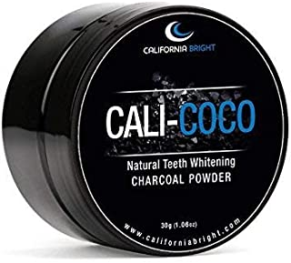 Cali Coco All Natural & Organic Teeth Whitening Charcoal Powder with Organic Coconut Oil & Natural Mint Flavor - Made in USA - Cruelty FREE & Vegan FREE