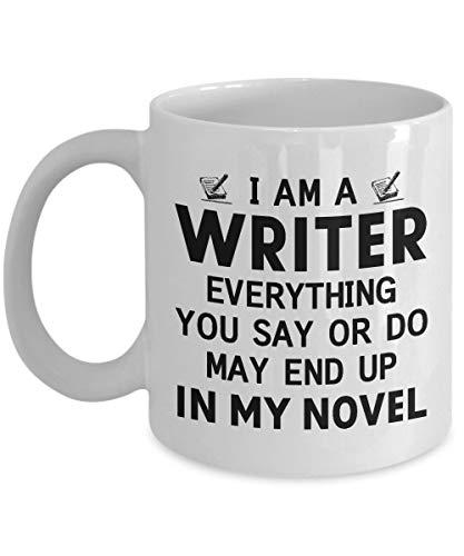 Taza de café para escritor, soy un escritor, todo lo que dices o haces puede terminar en mi novela, regalos inspiradores para escritores, periodistas o amantes de los libros, regalo de cumpleaños para