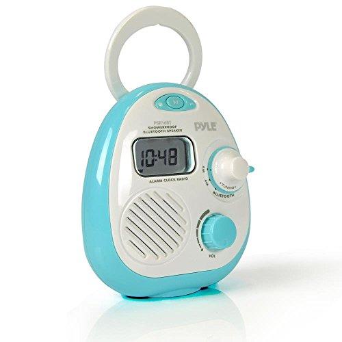 Pyle PSR16BT Bluetooth-Lautsprecher, wasserdicht, tragbar, zum Aufhängen, für Badezimmer, AM-FM-Radio, mit wasserdichtem Gehäuse, digitaler Wecker, LCD-Bildschirm, batteriebetrieben
