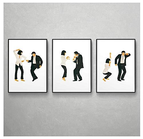 Vscdye Póster de Pulp Fiction, impresión artística, película clásica, Jack Rabbit, Cartel de Baile, Arte Minimalista, Pintura en Lienzo, Imagen para decoración del hogar-50X70Cmx3 sin Marco