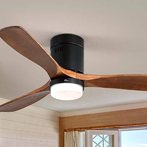 Sofucor 52'Flush Mount Modern Ceiling Fans with Lights and Remote Control,6 Speed Walnut Wood Blades,for Living Room Kitchen Bedroom Family