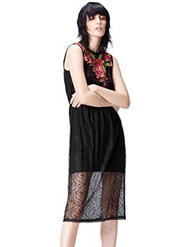 Marchio Amazon - find. Vestito Midi di Pizzo Donna, Multicolore (Black), 40, Label: XS