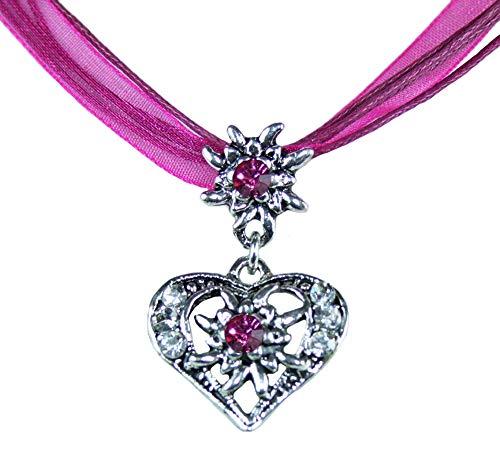 Trachtenland Halskette Davina mit Edelweiß und Herzanhänger - Beere