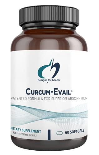 Designs for Health Curcum-Evail - Bioavailable Turmeric Curcumin Supplement - Patented Formula for Superior Absorption, Triple Curcuminoid Blend with Turmeric Oil + Vitamin E, Non-GMO (60 Softgels)