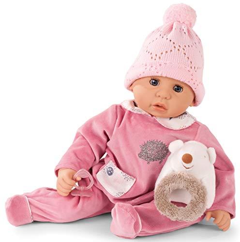 Götz 1961049 Cookie Igel Puppe - 48 cm große Babypuppe mit blauen Schlafaugen, ohne Haare und einem Weichkörper - 5-teiliges Set
