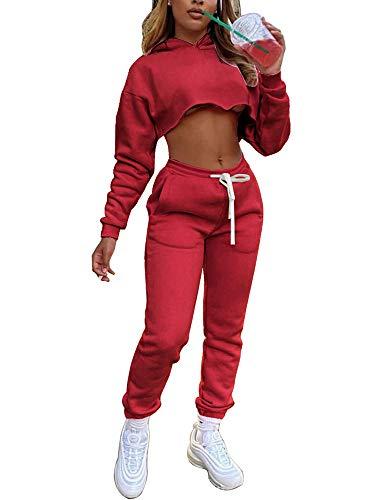 Conjunto casual de 2 piezas para mujer, manga larga, sudadera con capucha, pantalones y tops, rosso, M