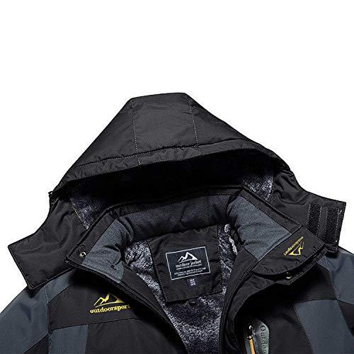 MAGCOMSEN Waterproof Jacket Mens Warm Fleece Jackets Winter Hiking Jacket Men Windproof Outdoor Climbing Rain Coat Hoodies Black