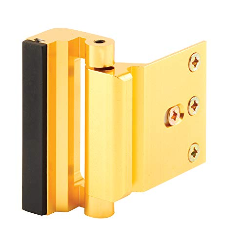 """Defender Security Gold Anodized U 10826 Door Reinforcement Lock – Add Extra, High Security to Your Home and Prevent Unauthorized Entry – 3"""" Stop, Aluminum Construction Finish"""