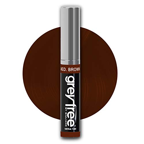 greyfree, Root Touch Up, MED BROWN, Hair color, Brow Color to Edit or Hide Gray Hair in an Instant, WOW! Stylist agree 100% Grey Coverage, Perfect for beards, Brush on, not a Powder or Aerosol