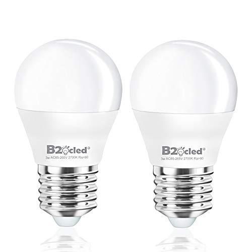 B2ocled LED Light Bulb 3W(25 Watt Equivalent) A15 Lamp Warm White 2700K CRI90+ Non-Dimmable E26/E27 Base for Home Lighting Decorative 240-Lumen 2-Pack