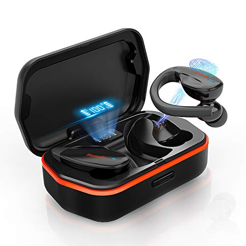 Bluenin T30 True Wireless Earbuds,Bluetooth 5.0 Headphones Sport Earphones with Charging Case, 136H Playtime, Stereo Sound Headset with CVC8.0 Noise Canceling Mic, IPX7 Waterproof Earbuds for Work Out