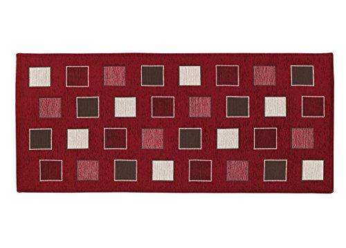 BIANCHERIAWEB Tappeto Passatoia Runner Cucina Antiscivolo Antimacchia Lavabile Square Suardi 55x280 Rosso