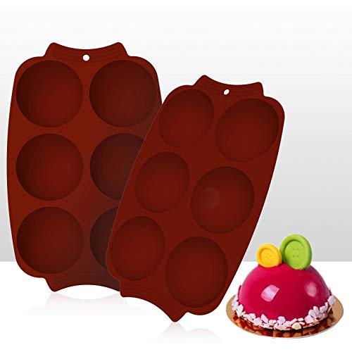N-B Molde de Silicona de Chocolate Redondo de 6 Agujeros de Grosor (2 Piezas), Adecuado para Chocolate, Pastel, gelatina, pudín, jabón Hecho a Mano (Rojo ladrillo, 11,70 x 7,48 Pulgadas)