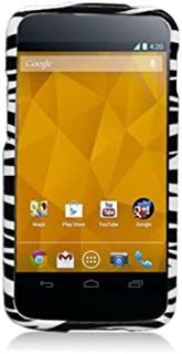 Aimo LGE960PCIM005 Durable Hard Snap-On Case for LG Nexus 4 E960-1 Pack - Retail Packaging - Zebra